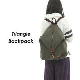 T-SELECTIONS バックパック リュックサック トライアングル 三角形 キャンバス生地 アーミー風 [T001011]