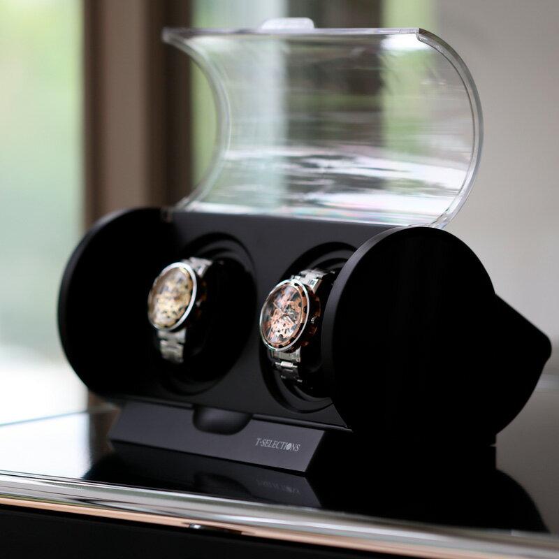[送料無料]ワインディングマシーン 2本同時巻き T-SELECTIONS 1年保証 ギア駆動 静音設計 T005120 ブラック 腕時計巻き上げ機の決定版!