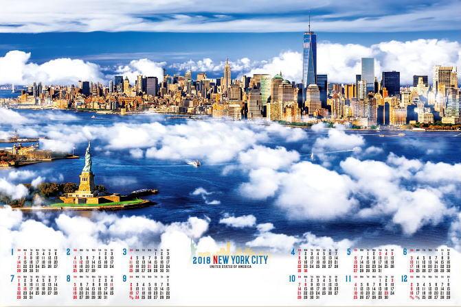 特大サイズ  ニューヨークシティ 不織布カレンダー 2018年カレンダー  平成30年カレンダー カレンダー2018 年表カレンダー ポスターカレンダー