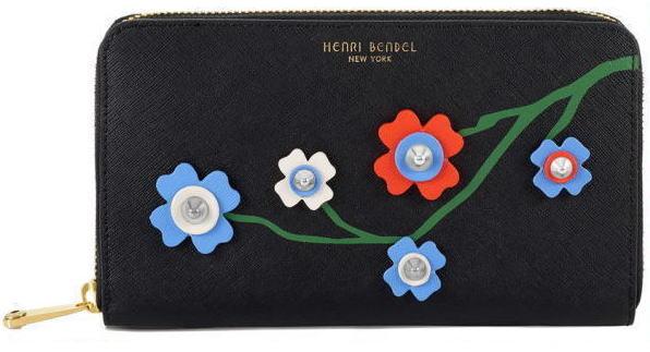 【日本在庫・即発送】ヘンリベンデル HENRI BENDEL パスポート スマホ可 お花のアップリケ 長財布 ブラック 黒【正規品】