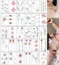 tuzuru 30枚セット タトゥーシール かわいい 花 月 鹿 おまけ付 送料無料 ポスト投函 E