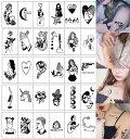 tuzuru タトゥーシール 30枚セット ステッカー 防水 ボディシール 韓国 シリーズ tatoo 文字 英字 LOVE ハロウィン 送…