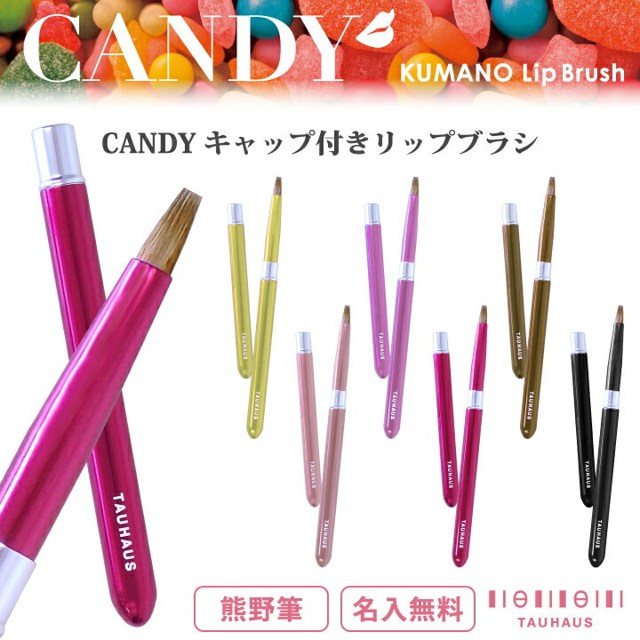 【プチプラ】【名入れ無料】【ネコポスOK】《熊野筆》 TAUHAUS 『CANDY キャップ付きリップブラシ』(LP01)タウハウス 熊野筆 化粧筆 メイクブラシ リップブラシ 紅筆 キャンディ 名入れ