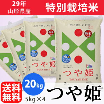 【白米】29年山形県産特別栽培米つや姫 20kg(5kg×4)【精米工場直送】【送料無料】