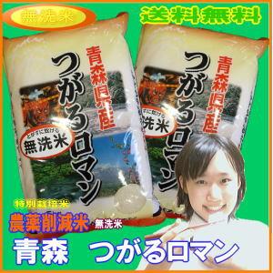 新米 無洗米 減農薬 米 10kg(5kg×2) つがるロマン 青森県産 特別栽培米 30年産 送料無料