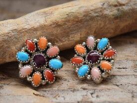 Indian Jewelry ナバホ族 サリー ヤジー マルチカラー クラスター Flower ピアス 2
