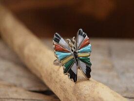 Indian Jewelry ズニ族 マルチストーン(ターコイズ、シェル) バタフライ(蝶) カービング & インレイ リング(13.5号)