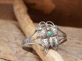 Vintage Indian Jewelry バタフライ(蝶) patched ターコイズ & シルバー バングル(Fred Harvey ere)
