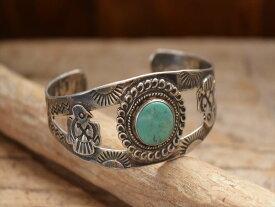 Vintage Indian Jewelry サンダーバード ターコイズ ワイド シルバー バングル(Fred Harvey era)