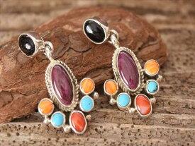 Indian Jewelry ナバホ族 サリー ヤジー クレイジー クラスター マルチストーン Flower ピアス jan2