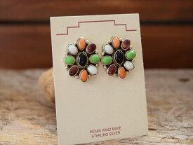 Indian Jewelry ナバホ族 サリー ヤジー (Sally Yazzie) ターコイズ & マルチストーン クラスター Flower ピアス