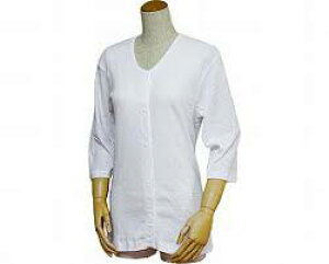紳士用前開き七分袖シャツ(プラスチックホック式)43211 白 3L (シャツリハビリ お年寄り 介護用下着 高齢者 老人服 肌着 )