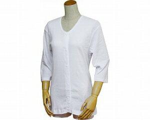 婦人用前開き七分袖シャツ(プラスチックホック式)43261 白 4L (リハビリ お年寄り 介護用下着 高齢者 お年寄り 老人服 肌着 )