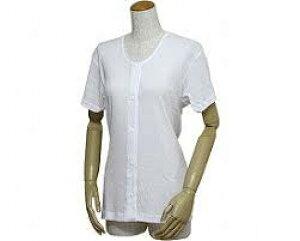 婦人用前開き三分袖シャツ(プラスチックホック式)43263 白 4L (リハビリ お年寄り 介護用下着 高齢者 お年寄り 老人服 肌着 )