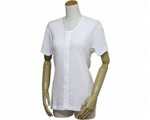婦人用前開き三分袖シャツ(プラスチックホック式)43263 白 5L (リハビリ お年寄り 介護用下着 高齢者 お年寄り 老人服 肌着 )