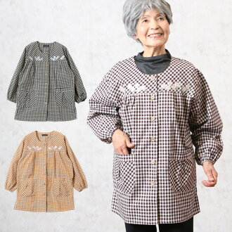 Flower embroidery coverall apron spring and summer (Mrs. woman Lady's grandmother clothes elderly elderly person present in the spring and summer high a fashion for senior fashion 70 generations in 80s in 60s) when show cute gingham check for smock adult