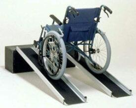 車椅子 スロープ・車椅子用段差解消スロープ ポータブルワイドアルミスロープ 2本1組[50cm] (車いす 車イス 玄関用 階段用)