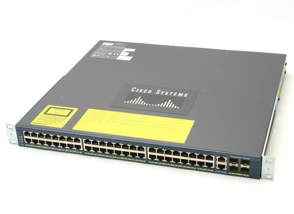 Cisco Catalyst 4948 WS-C4948-E V05 cat4500-ENTSERVICES-M Ver.12.2(40)SG 冗長電源 設定初期化済 【中古】【20180719】