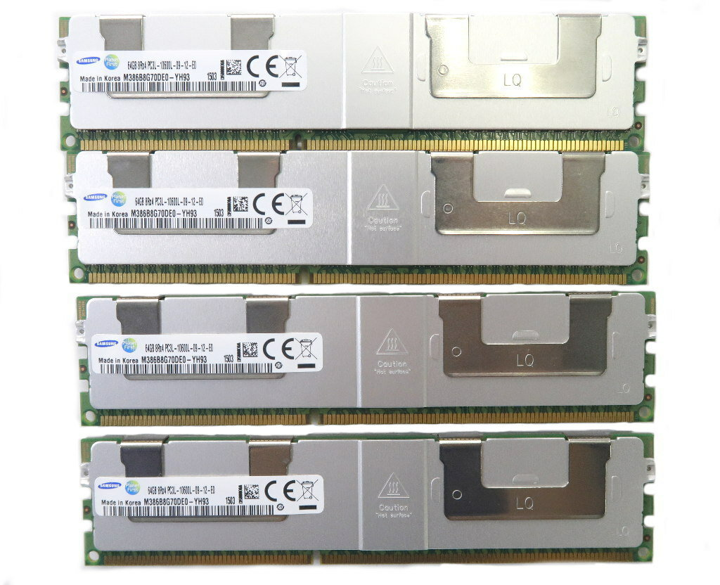 Samsung 64GBx4枚セット 256GB分 PC3L-10600L DDR3 Load Reduced DIMM 【中古】【20180921】