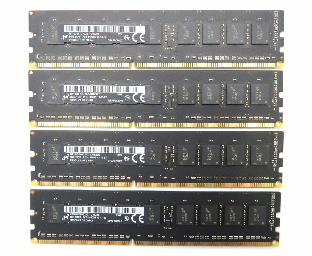 Micron Mac Pro Late 2013対応 8GBx4枚セット 32GB分 PC3-14900E DDR3 ECC Unbuffered 【中古】【20180921】