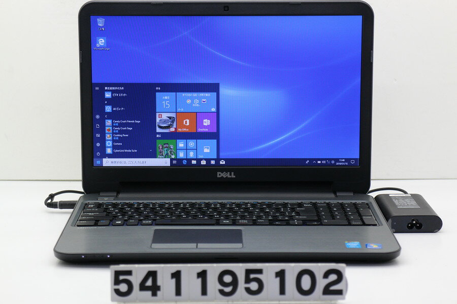 DELL Latitude 3540 Core i3 4005U 1.7GHz/4GB/128GB(SSD)/Multi/15.6W/FWXGA(1366x768)/Win10 USB1個破損 バッテリ完全消耗【中古】【20190116】