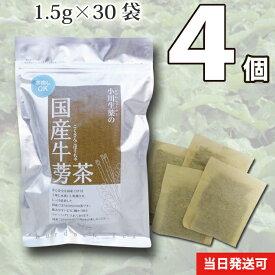【送料無料】 小川生薬 国産ごぼう茶 国産 1.5g×30袋 無漂白ティーバッグ 4個セットさらに2パック入りを2個プレゼント