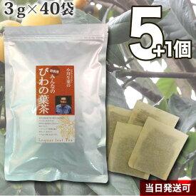 【送料無料】 厳選小川生薬 徳島産みんなのびわの葉茶 国産(徳島産) 3g×40袋 無漂白ティーバッグ 5個セットさらにもう1個プレゼント