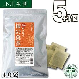 【送料無料】 厳選小川生薬 徳島産みんなの柿の葉茶 国産(徳島産) 3g×40袋 無漂白ティーバッグ 5個セットさらにもう1個プレゼント