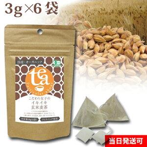 小川生薬 こだわり女子のイキイキ玄米麦茶 国産 3g×6袋 テトラバッグ