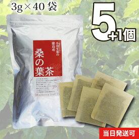 【送料無料】 小川生薬 徳島産桑の葉茶 国産(徳島産) 3g×40袋 無漂白ティーバッグ 5個セットさらにもう1個プレゼント