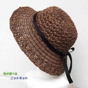 エコアンダリアとネットを使ったエレガントな編み付け帽子 手編みキット ハマナカ 編み図 編みものキット
