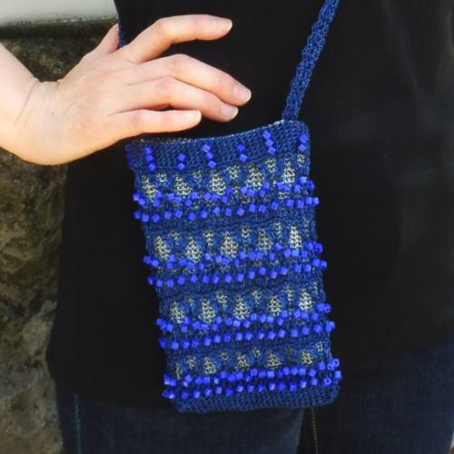 ●編み針セット●パトラDXで編む四角ビーズを活かしたポシェット スマホケース 手編みキット エクトリー
