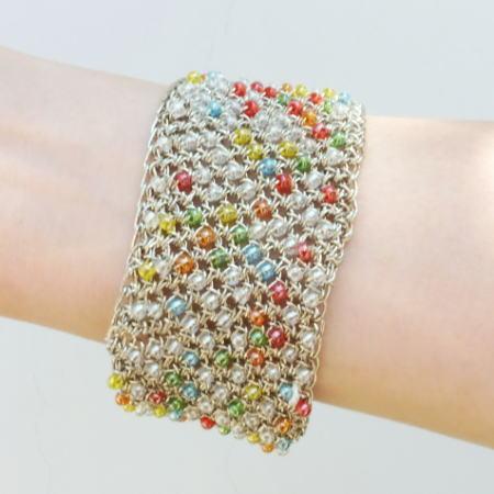 ●編み針セット●パトラDXで編むカラフルなビーズ入りのブレスレット 手編みキット エクトリー