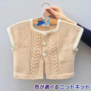 ●編み針セット●ねんねで編むベビー用2色使いのラグランカーディガン 80cm 手編みキット ハマナカ 赤ちゃん 編み図 編みものキット