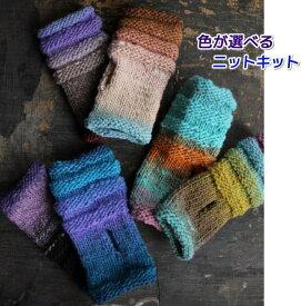 野呂英作のくれよんで編むしましまの指なし手袋 手編みキット 人気キット 編み図 編みものキット