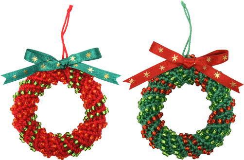 ロイヤルグランデはじめてで編むクリスマスリース 手編みキット ミニチュアリース 内藤商事
