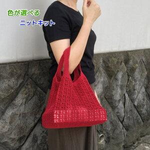 アプリコで編むなつめ模様のバッグ エコバッグ 手編みキット ハマナカ 編み図 編みものキット 人気キット 毛糸