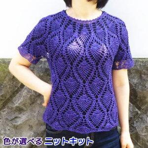 ●編み針セット●ナンテンで編むパイナップル模様のかぎ針編みサマーセーター 手編みキット エクトリー 編み図 編みものキット