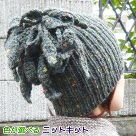 ひとつで二役!スターメで編むはっぱ模様の帽子&ネックウォーマー 手編みキット ハマナカ・リッチモア スヌード 編み図 編みものキット