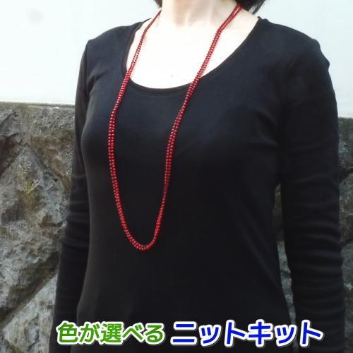 ●編み針セット●パトラDXで編むビーズ入りのロングネックレス 手編みキット エクトリー