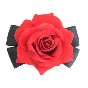【ゴシック】赤薔薇 黒リボン ブローチ
