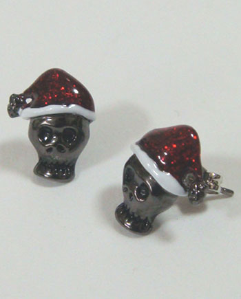 【クリスマス】髑髏サンタクロースピアス