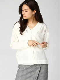[Rakuten Fashion]Techichi/スパローンVネック前開きシャツ Te chichi テチチ シャツ/ブラウス 長袖シャツ ホワイト ネイビー ブラウン【送料無料】