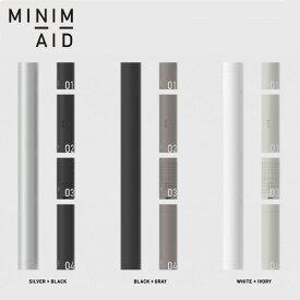 MINIM+AID ミニメイド必要最低限のアイテムを収めた防災セット。 最小限の防災ツールを1本の筒に