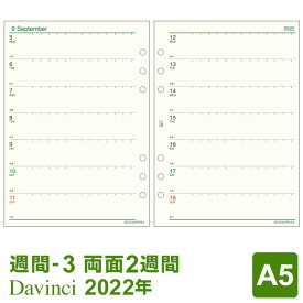 【2021年版リフィル Davinci】【条件付メール便送料無料】システム手帳 リフィル 2021年版 ダ・ヴィンチ A5 週間-3 見開き両面2週間 1月/4月始まり両対応 (DAR2103)