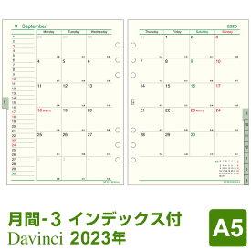 【2020年版リフィル Davinci】【メール便対象】システム手帳 リフィル 2020年版 ダ・ヴィンチ A5 月間-3 見開き両面1ヶ月 1月/4月始まり両対応 (DAR2006)