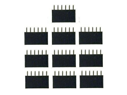 ピンヘッダー ソケット 10個セット (6ピン) 1列 角ピン 2.54mmピッチ