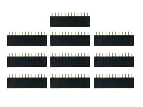 ピンヘッダー ソケット 10個セット (12ピン) 1列 角ピン 2.54mmピッチ