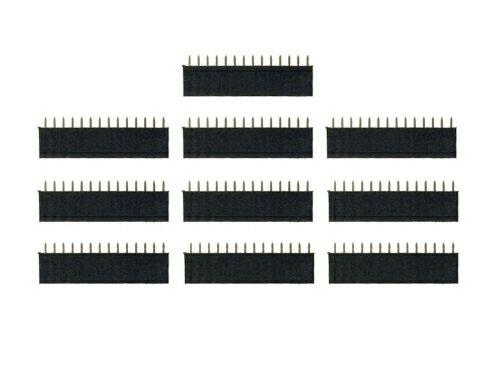 ピンヘッダー ソケット 10個セット (14ピン) 1列 角ピン 2.54mmピッチ