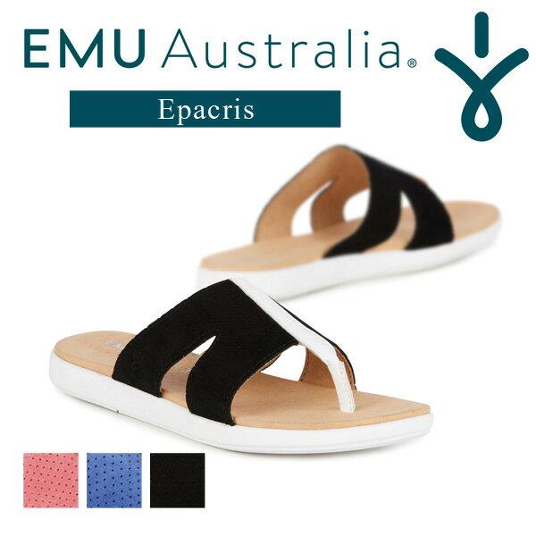 EMU フラットサンダル レディース 夏 レザー EVA 軽量 無地 全3色 ウォーターメロン/ブラック/ラグーンブルー (6)23cm-(8)25cm W11416
